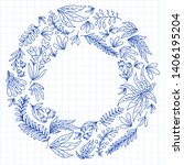 hand vector drawn floral ... | Shutterstock .eps vector #1406195204