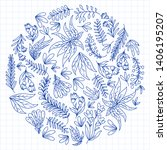 hand vector drawn floral ... | Shutterstock .eps vector #1406195207