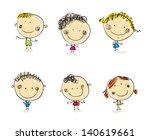 happy kids set vector people....