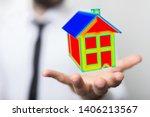 house model illustration 3d in... | Shutterstock . vector #1406213567