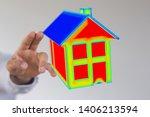 house model illustration 3d in... | Shutterstock . vector #1406213594