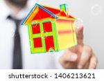house model illustration 3d in... | Shutterstock . vector #1406213621