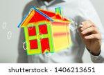 house model illustration 3d in... | Shutterstock . vector #1406213651