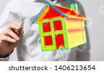house model illustration 3d in... | Shutterstock . vector #1406213654