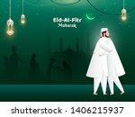 eid al fitr mubarak poster or... | Shutterstock .eps vector #1406215937
