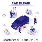 advertising banner with wheel... | Shutterstock .eps vector #1406244371