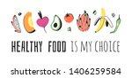 hand drawn set of vegetables ... | Shutterstock .eps vector #1406259584