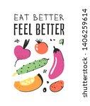 hand drawn set of vegetables ... | Shutterstock .eps vector #1406259614