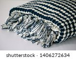 folded plaid cloth with tassels ... | Shutterstock . vector #1406272634