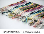 folded plaid cloth with tassels ... | Shutterstock . vector #1406272661