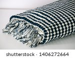 folded plaid cloth with tassels ... | Shutterstock . vector #1406272664