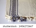 folded plaid cloth with tassels ... | Shutterstock . vector #1406272667