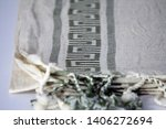 folded plaid cloth with tassels ... | Shutterstock . vector #1406272694