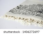 folded plaid cloth with tassels ... | Shutterstock . vector #1406272697