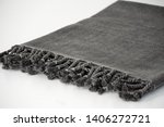 folded plaid cloth with tassels ... | Shutterstock . vector #1406272721