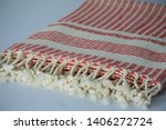 folded plaid cloth with tassels ... | Shutterstock . vector #1406272724