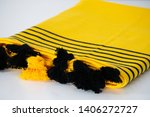 folded plaid cloth with tassels ... | Shutterstock . vector #1406272727