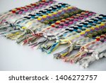 folded plaid cloth with tassels ... | Shutterstock . vector #1406272757