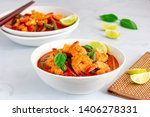 thai shrimp red curry in the... | Shutterstock . vector #1406278331