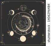 vector illustration set of moon ... | Shutterstock .eps vector #1406296484