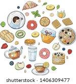 set of morning breakfast... | Shutterstock .eps vector #1406309477