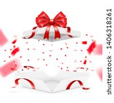 realistic surprise gift box... | Shutterstock .eps vector #1406318261