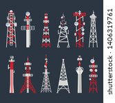 radio tower set  media and... | Shutterstock .eps vector #1406319761