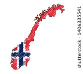 norway map hand drawn sketch.... | Shutterstock .eps vector #1406335541