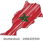 morocco map hand drawn sketch.... | Shutterstock .eps vector #1406335544