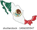 mexico map hand drawn sketch.... | Shutterstock .eps vector #1406335547