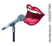 mouth and microphone vector... | Shutterstock .eps vector #1406357384