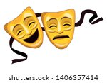 theater mask icon vector... | Shutterstock .eps vector #1406357414