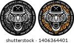 roaring tiger in snapback on... | Shutterstock .eps vector #1406364401