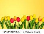 fresh pink tulips. a bouquet of ... | Shutterstock . vector #1406374121