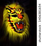 tiger mask at local market ooty ... | Shutterstock . vector #1406381654