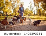 Stock photo smiling girl walker on the street with dogs 1406393351