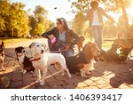 Stock photo dogs on walk with professional girl dog walker on the street 1406393417