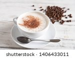cappuccino on rustic white wood ... | Shutterstock . vector #1406433011