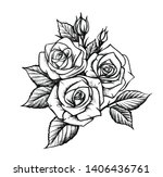 rose by hand drawing. beautiful ... | Shutterstock .eps vector #1406436761