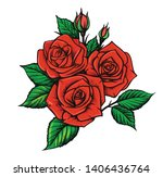 beautiful red roses and leaves. ... | Shutterstock .eps vector #1406436764