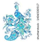 fantastic blue bird with... | Shutterstock .eps vector #1406530517