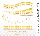 golden piano keys and musical... | Shutterstock .eps vector #1406531621