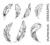 set of bird feathers. hand... | Shutterstock .eps vector #1406563991