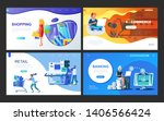 set of landing page template... | Shutterstock .eps vector #1406566424