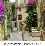 young caucasian woman stops to... | Shutterstock . vector #1406601527