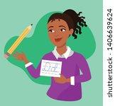 smiling female teacher with... | Shutterstock .eps vector #1406639624