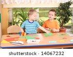 two preschoolers making some... | Shutterstock . vector #14067232