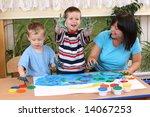 teacher two preschoolers and... | Shutterstock . vector #14067253