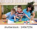 teacher two preschoolers and... | Shutterstock . vector #14067256