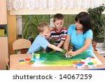 teacher two preschoolers and... | Shutterstock . vector #14067259